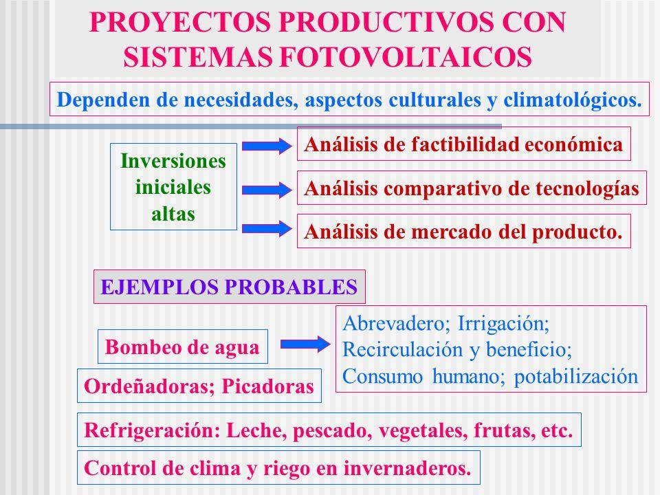 PROYECTOS PRODUCTIVOS CON SISTEMAS FOTOVOLTAICOS Dependen de necesidades, aspectos culturales y climatológicos. Inversiones iniciales altas Análisis d