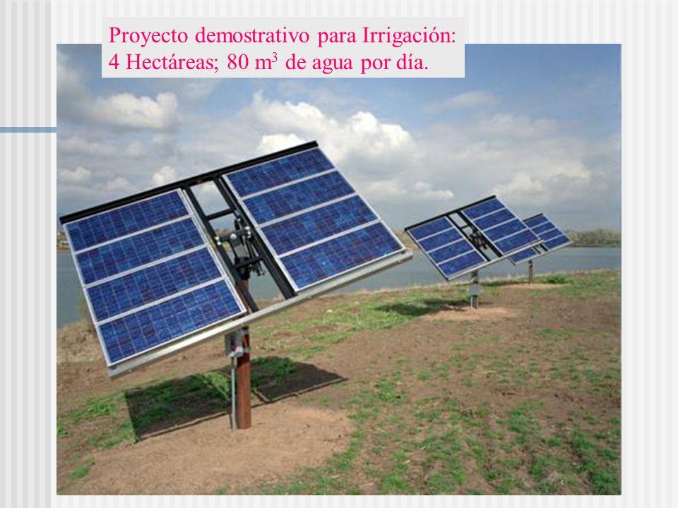 Proyecto demostrativo para Irrigación: 4 Hectáreas; 80 m 3 de agua por día.