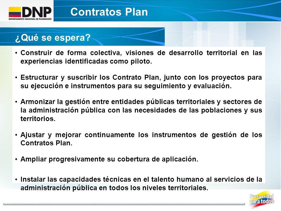 Contratos Plan DECRETO UNICO CONTRATOS PLAN ¿Qué se espera? Construir de forma colectiva, visiones de desarrollo territorial en las experiencias ident
