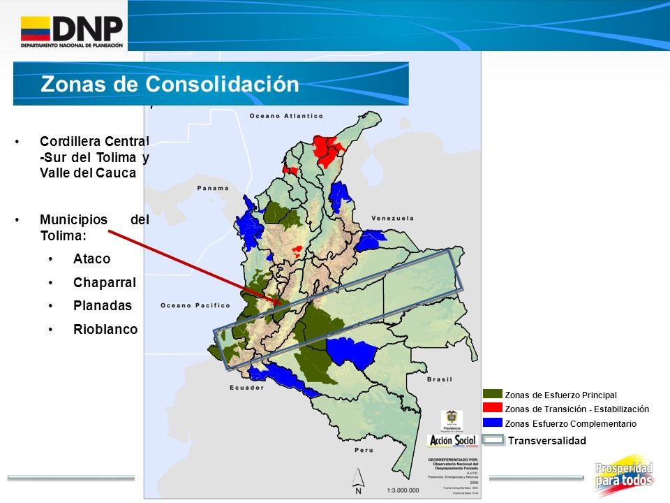 Cordillera Central -Sur del Tolima y Valle del Cauca Municipios del Tolima: Ataco Chaparral Planadas Rioblanco Transversalidad Zonas de Esfuerzo Princ