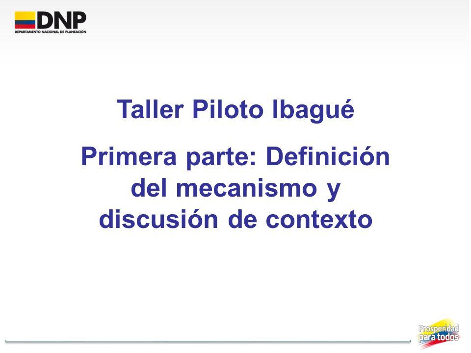 Taller Piloto Ibagué Primera parte: Definición del mecanismo y discusión de contexto