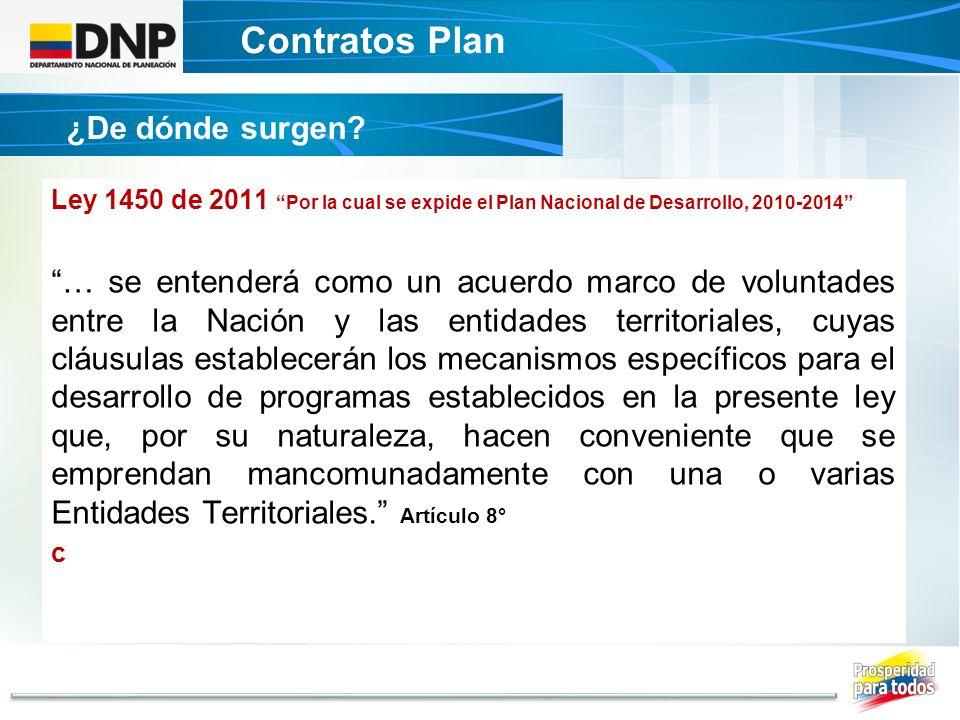 Contratos Plan ¿De dónde surgen? Ley 1450 de 2011 Por la cual se expide el Plan Nacional de Desarrollo, 2010-2014 … se entenderá como un acuerdo marco