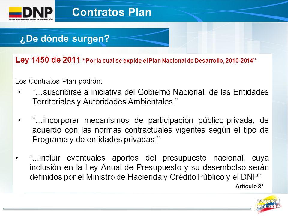 Contratos Plan ¿De dónde surgen? Ley 1450 de 2011 Por la cual se expide el Plan Nacional de Desarrollo, 2010-2014 Los Contratos Plan podrán: …suscribi