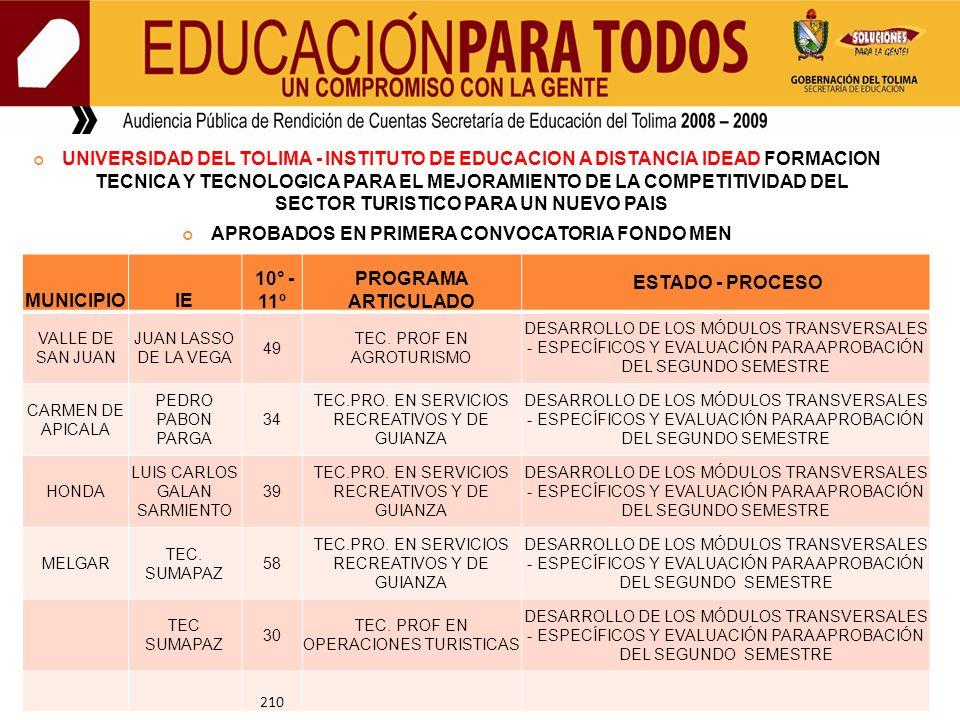 UNIVERSIDAD DEL TOLIMA - INSTITUTO DE EDUCACION A DISTANCIA IDEAD FORMACION TECNICA Y TECNOLOGICA PARA EL MEJORAMIENTO DE LA COMPETITIVIDAD DEL SECTOR TURISTICO PARA UN NUEVO PAIS APROBADOS EN PRIMERA CONVOCATORIA FONDO MEN MUNICIPIOIE 10° - 11º PROGRAMA ARTICULADO ESTADO - PROCESO VALLE DE SAN JUAN JUAN LASSO DE LA VEGA 49 TEC.