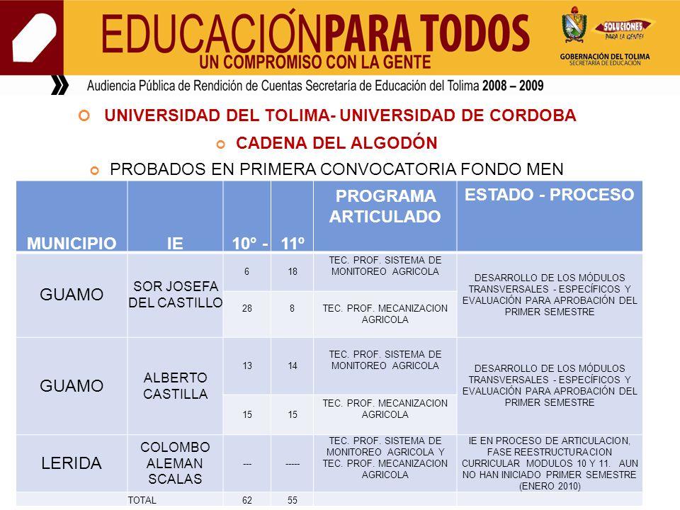 UNIVERSIDAD DEL TOLIMA- UNIVERSIDAD DE CORDOBA CADENA DEL ALGODÓN PROBADOS EN PRIMERA CONVOCATORIA FONDO MEN MUNICIPIOIE 10° -11º PROGRAMA ARTICULADO ESTADO - PROCESO GUAMO SOR JOSEFA DEL CASTILLO 618 TEC.