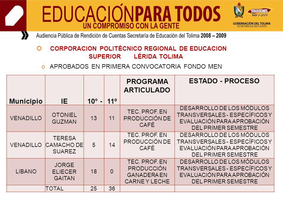 CORPORACION POLITÉCNICO REGIONAL DE EDUCACION SUPERIOR LÉRIDA TOLIMA APROBADOS EN PRIMERA CONVOCATORIA FONDO MEN MunicipioIE 10° -11º PROGRAMA ARTICULADO ESTADO - PROCESO VENADILLO OTONIEL GUZMAN 1311 TEC.