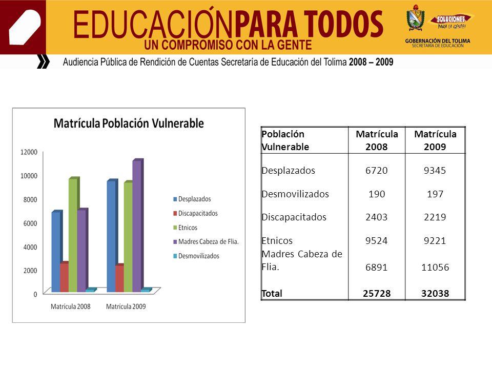 Población Vulnerable Matrícula 2008 Matrícula 2009 Desplazados67209345 Desmovilizados190197 Discapacitados24032219 Etnicos95249221 Madres Cabeza de Flia.689111056 Total2572832038