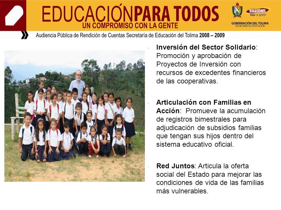 - Inversión del Sector Solidario: Promoción y aprobación de Proyectos de Inversión con recursos de excedentes financieros de las cooperativas.