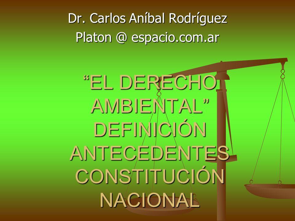 EL DERECHO AMBIENTAL DEFINICIÓN ANTECEDENTES CONSTITUCIÓN NACIONAL Dr. Carlos Aníbal Rodríguez Platon @ espacio.com.ar
