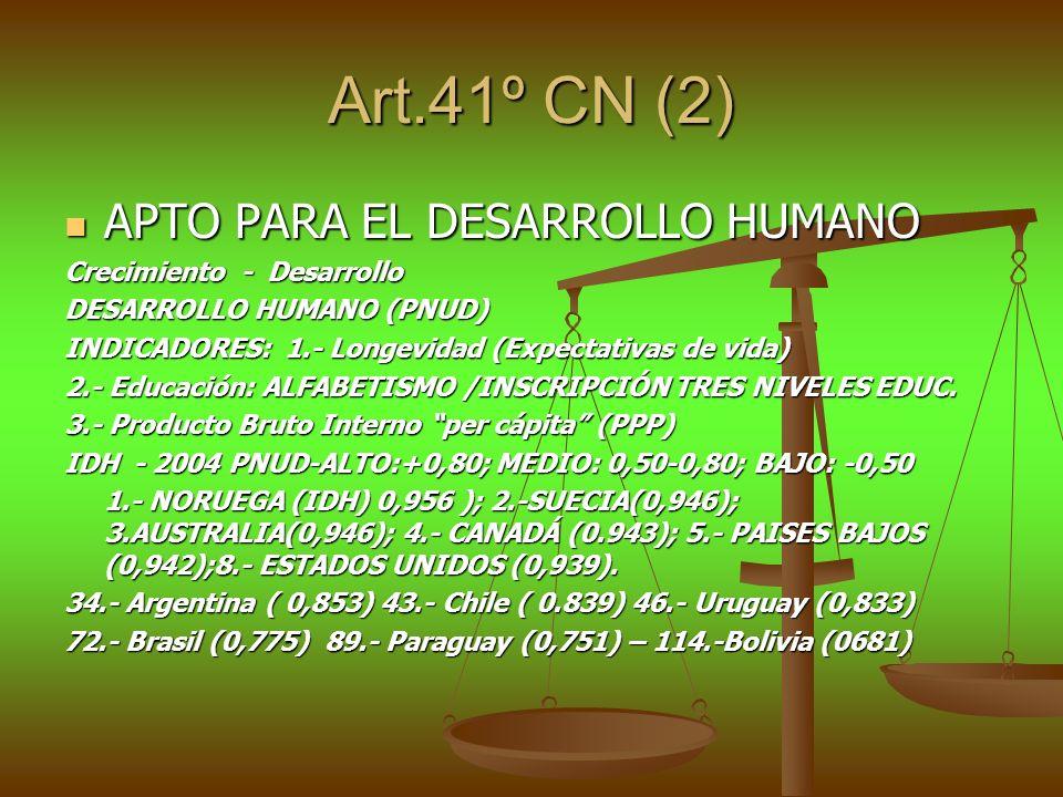 Art.41º CN (2) APTO PARA EL DESARROLLO HUMANO APTO PARA EL DESARROLLO HUMANO Crecimiento - Desarrollo DESARROLLO HUMANO (PNUD) INDICADORES: 1.- Longev