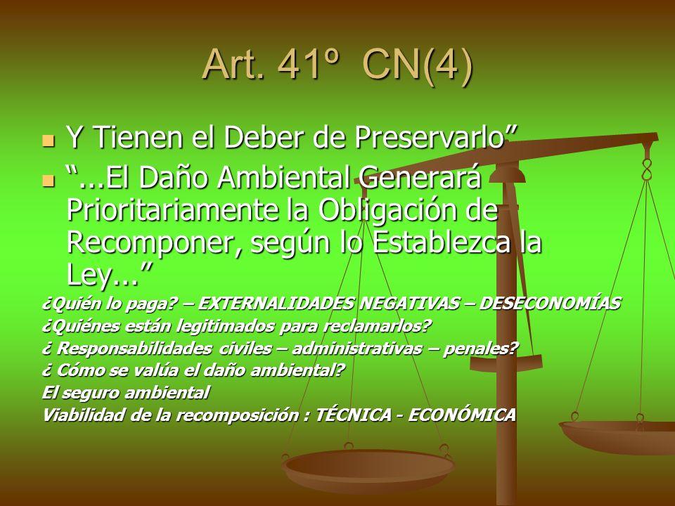 Art. 41º CN(4) Y Tienen el Deber de Preservarlo Y Tienen el Deber de Preservarlo...El Daño Ambiental Generará Prioritariamente la Obligación de Recomp