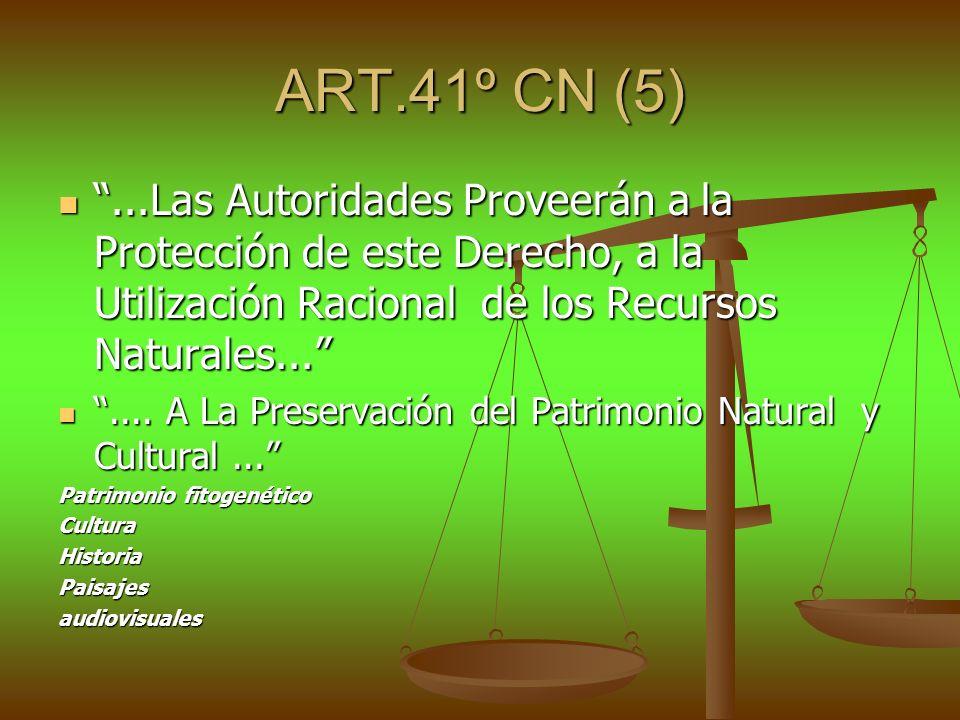 ART.41º CN (5)...Las Autoridades Proveerán a la Protección de este Derecho, a la Utilización Racional de los Recursos Naturales......Las Autoridades P