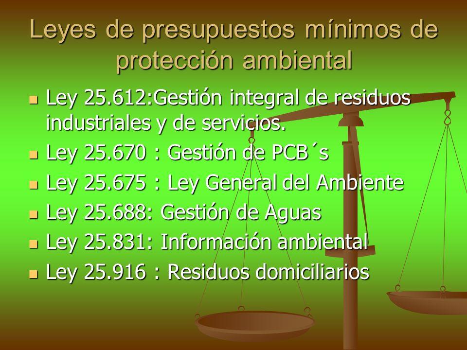 Leyes de presupuestos mínimos de protección ambiental Ley 25.612:Gestión integral de residuos industriales y de servicios. Ley 25.612:Gestión integral
