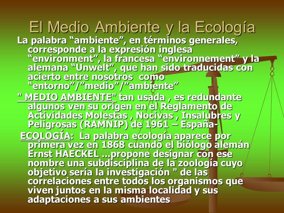 El Medio Ambiente y la Ecología La palabra ambiente, en términos generales, corresponde a la expresión inglesa environment, la francesa environnement