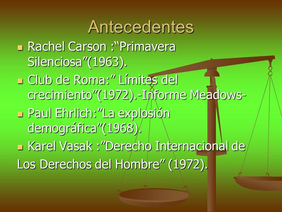 Antecedentes Rachel Carson :Primavera Silenciosa(1963). Rachel Carson :Primavera Silenciosa(1963). Club de Roma: Límites del crecimiento(1972).-Inform