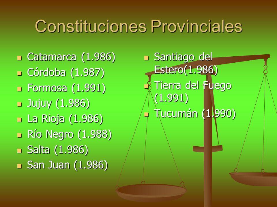 Constituciones Provinciales Catamarca (1.986) Catamarca (1.986) Córdoba (1.987) Córdoba (1.987) Formosa (1.991) Formosa (1.991) Jujuy (1.986) Jujuy (1