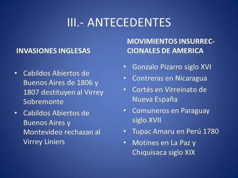 III.- ANTECEDENTES INVASIONES INGLESAS Cabildos Abiertos de Buenos Aires de 1806 y 1807 destituyen al Virrey Sobremonte Cabildos Abiertos de Buenos Ai