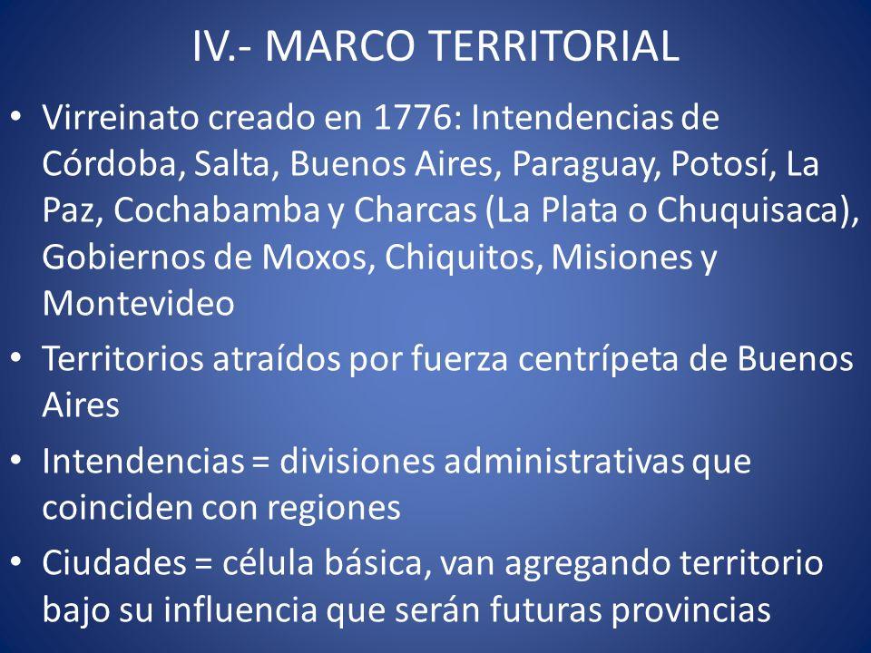 IV.- MARCO TERRITORIAL Virreinato creado en 1776: Intendencias de Córdoba, Salta, Buenos Aires, Paraguay, Potosí, La Paz, Cochabamba y Charcas (La Pla