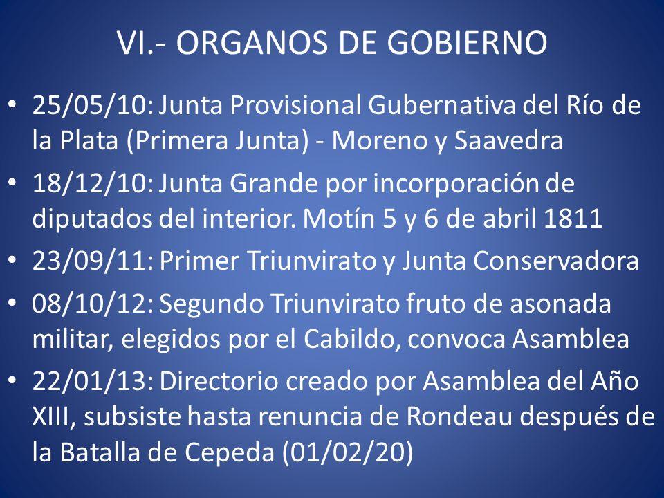 VI.- ORGANOS DE GOBIERNO 25/05/10: Junta Provisional Gubernativa del Río de la Plata (Primera Junta) - Moreno y Saavedra 18/12/10: Junta Grande por in