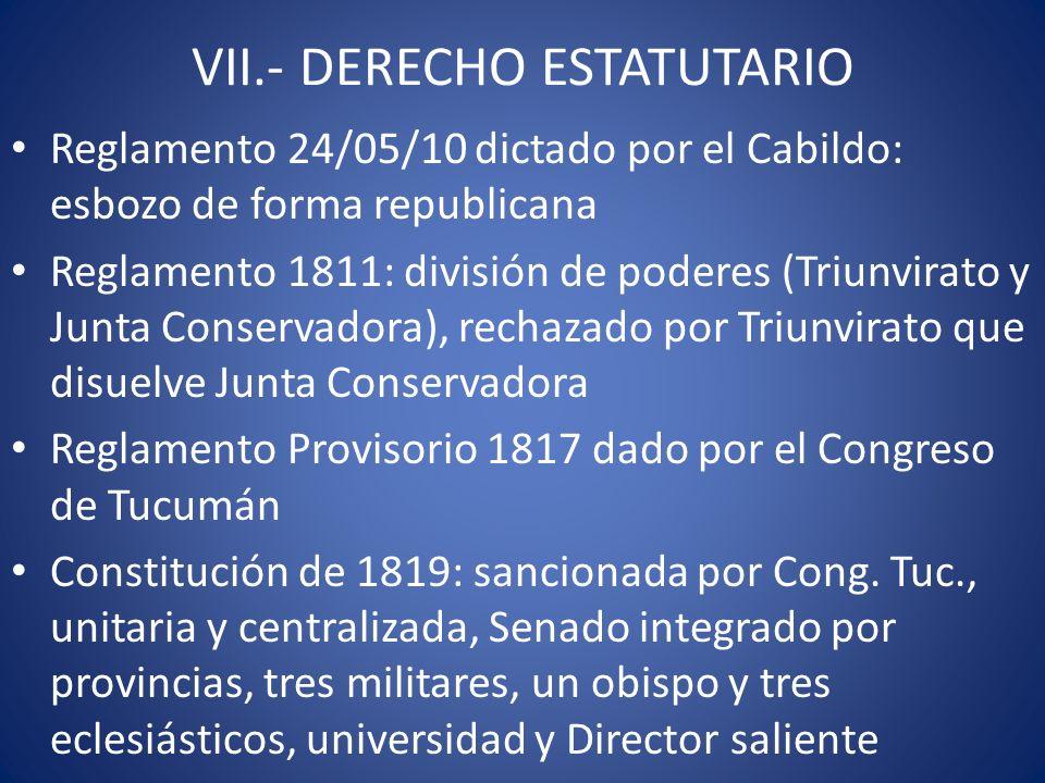 VII.- DERECHO ESTATUTARIO Reglamento 24/05/10 dictado por el Cabildo: esbozo de forma republicana Reglamento 1811: división de poderes (Triunvirato y
