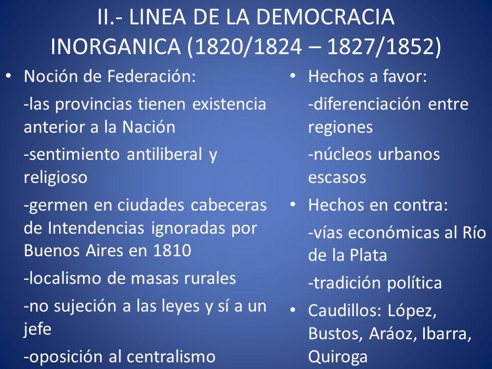 II.- LINEA DE LA DEMOCRACIA INORGANICA (1820/1824 – 1827/1852) Noción de Federación: -las provincias tienen existencia anterior a la Nación -sentimien