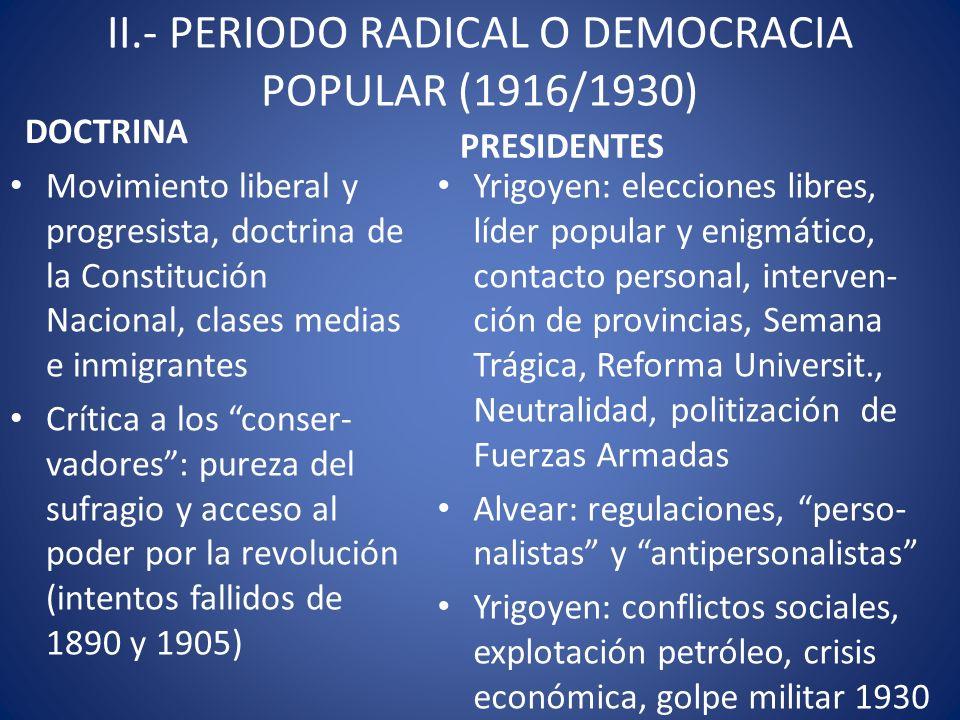 II.- PERIODO RADICAL O DEMOCRACIA POPULAR (1916/1930) DOCTRINA Movimiento liberal y progresista, doctrina de la Constitución Nacional, clases medias e