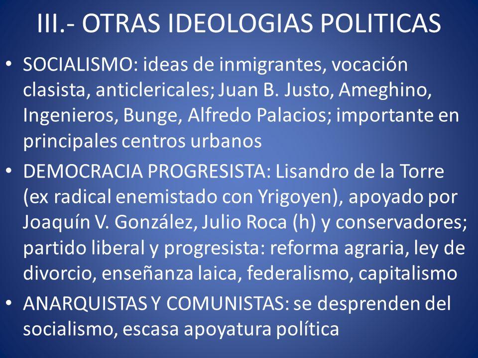 III.- OTRAS IDEOLOGIAS POLITICAS SOCIALISMO: ideas de inmigrantes, vocación clasista, anticlericales; Juan B. Justo, Ameghino, Ingenieros, Bunge, Alfr