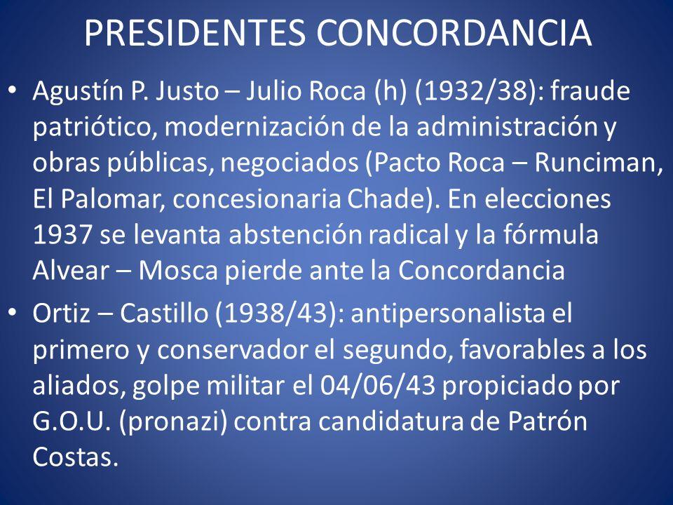 PRESIDENTES CONCORDANCIA Agustín P. Justo – Julio Roca (h) (1932/38): fraude patriótico, modernización de la administración y obras públicas, negociad