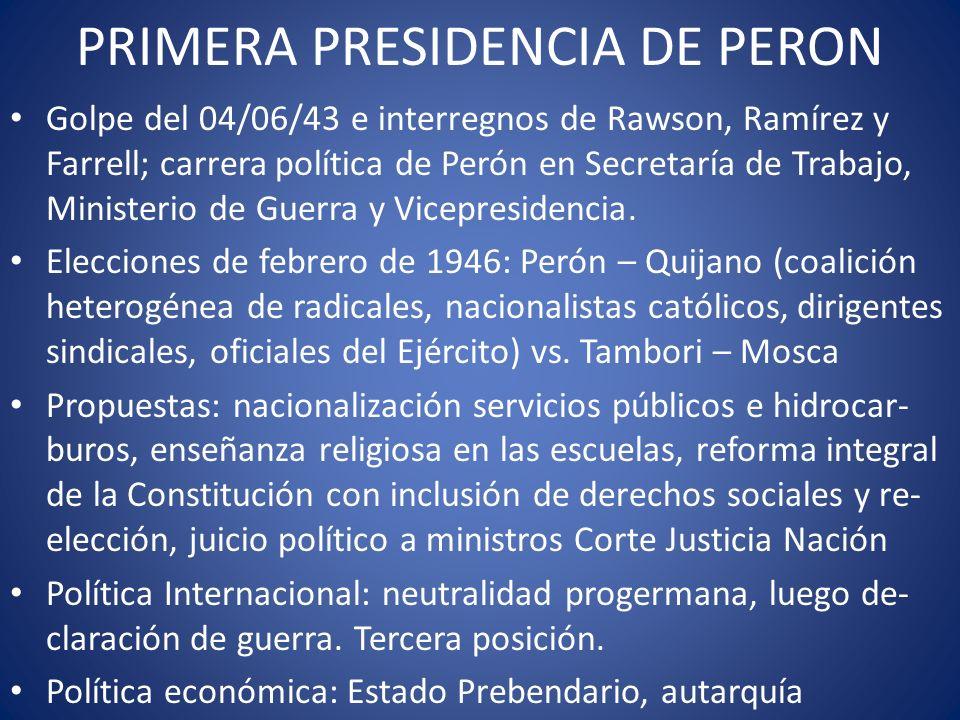 PRIMERA PRESIDENCIA DE PERON Golpe del 04/06/43 e interregnos de Rawson, Ramírez y Farrell; carrera política de Perón en Secretaría de Trabajo, Minist