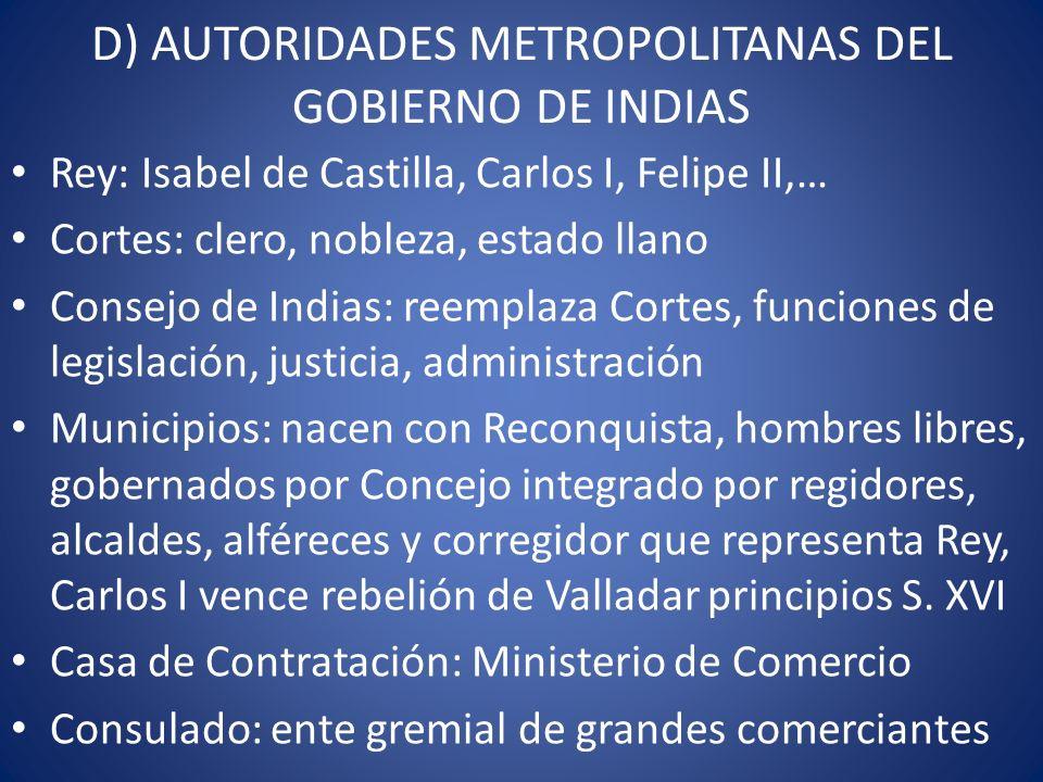 D) AUTORIDADES METROPOLITANAS DEL GOBIERNO DE INDIAS Rey: Isabel de Castilla, Carlos I, Felipe II,… Cortes: clero, nobleza, estado llano Consejo de In