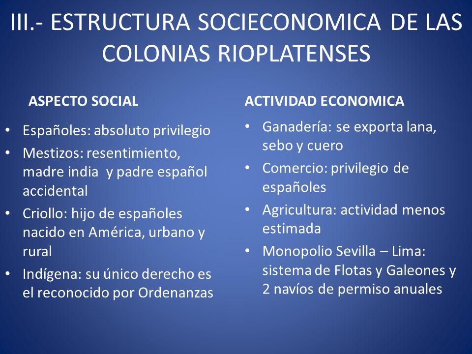 III.- ESTRUCTURA SOCIECONOMICA DE LAS COLONIAS RIOPLATENSES ASPECTO SOCIAL Españoles: absoluto privilegio Mestizos: resentimiento, madre india y padre