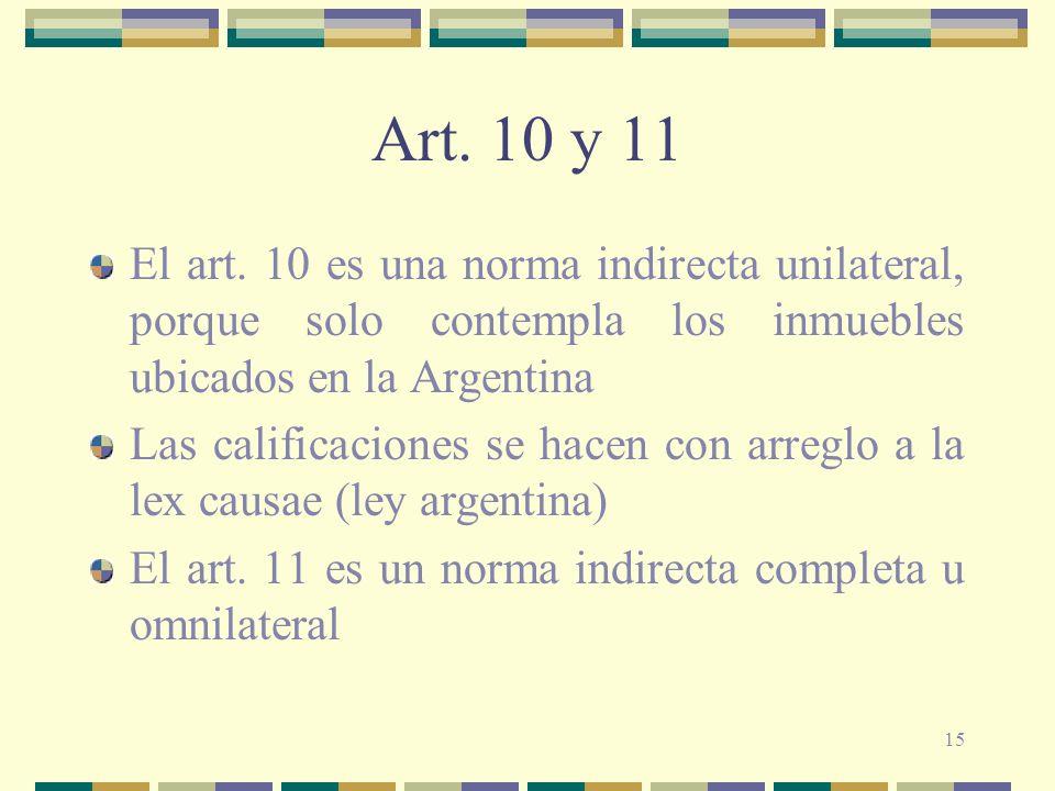 15 Art. 10 y 11 El art. 10 es una norma indirecta unilateral, porque solo contempla los inmuebles ubicados en la Argentina Las calificaciones se hacen