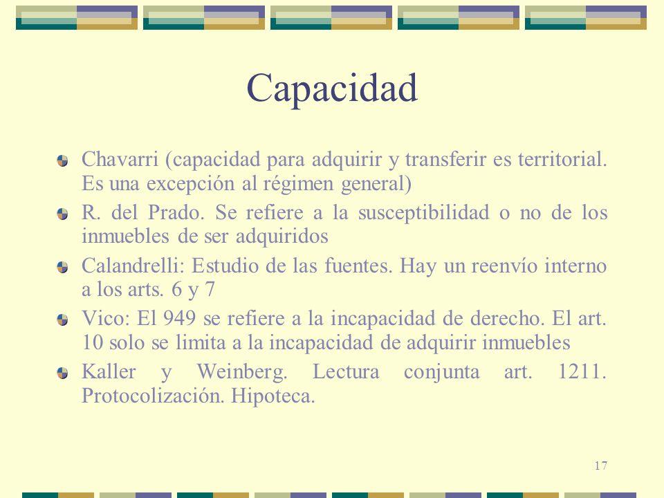 17 Capacidad Chavarri (capacidad para adquirir y transferir es territorial. Es una excepción al régimen general) R. del Prado. Se refiere a la suscept