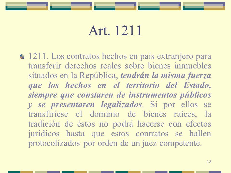 18 Art. 1211 1211. Los contratos hechos en país extranjero para transferir derechos reales sobre bienes inmuebles situados en la República, tendrán la