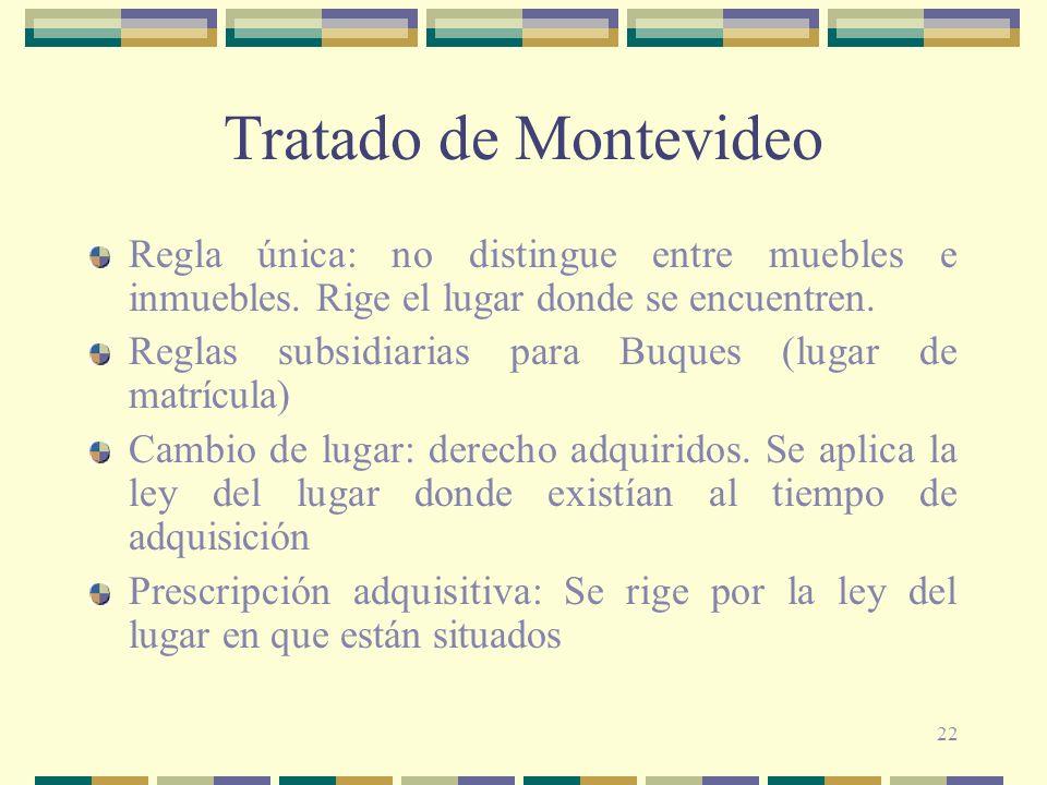 22 Tratado de Montevideo Regla única: no distingue entre muebles e inmuebles. Rige el lugar donde se encuentren. Reglas subsidiarias para Buques (luga