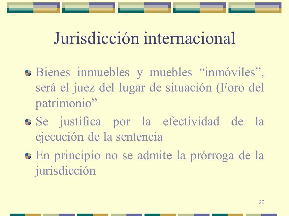 30 Jurisdicción internacional Bienes inmuebles y muebles inmóviles, será el juez del lugar de situación (Foro del patrimonio Se justifica por la efect