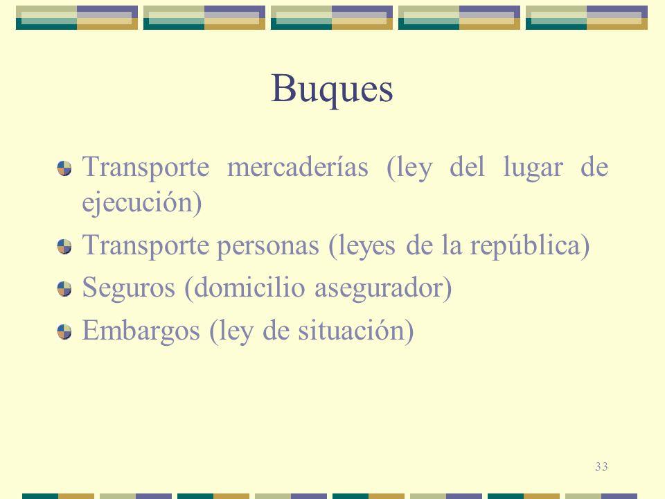 33 Buques Transporte mercaderías (ley del lugar de ejecución) Transporte personas (leyes de la república) Seguros (domicilio asegurador) Embargos (ley