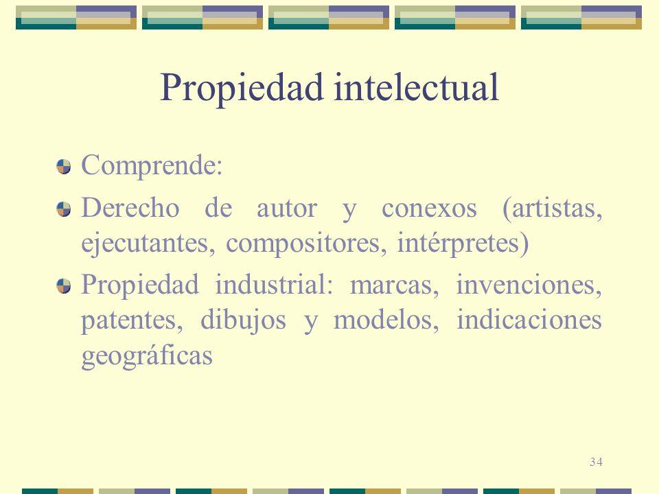 34 Propiedad intelectual Comprende: Derecho de autor y conexos (artistas, ejecutantes, compositores, intérpretes) Propiedad industrial: marcas, invenc