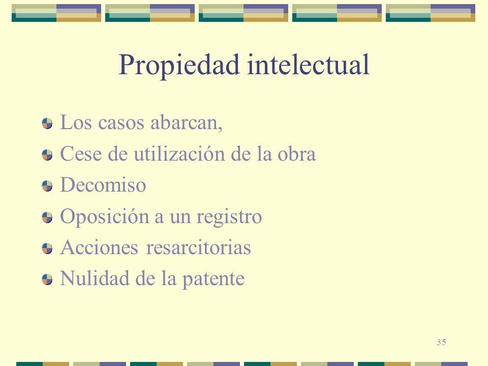 35 Propiedad intelectual Los casos abarcan, Cese de utilización de la obra Decomiso Oposición a un registro Acciones resarcitorias Nulidad de la paten