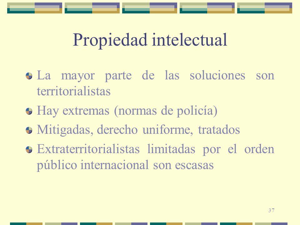 37 Propiedad intelectual La mayor parte de las soluciones son territorialistas Hay extremas (normas de policía) Mitigadas, derecho uniforme, tratados