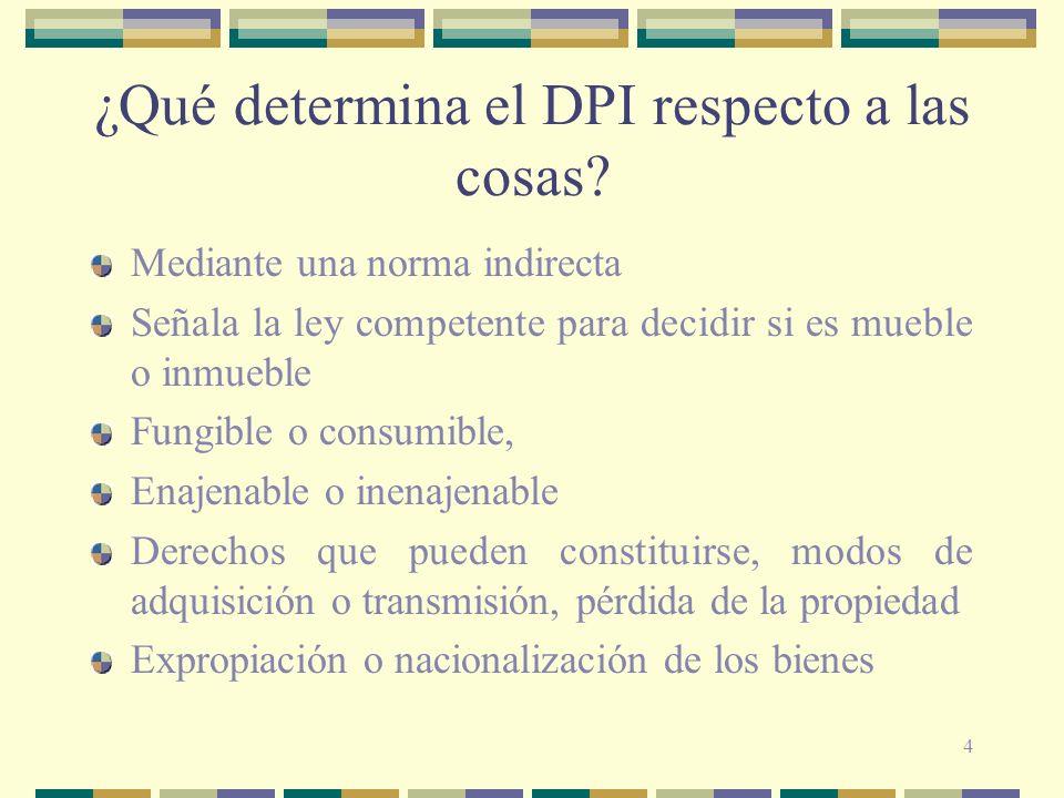 4 ¿Qué determina el DPI respecto a las cosas? Mediante una norma indirecta Señala la ley competente para decidir si es mueble o inmueble Fungible o co