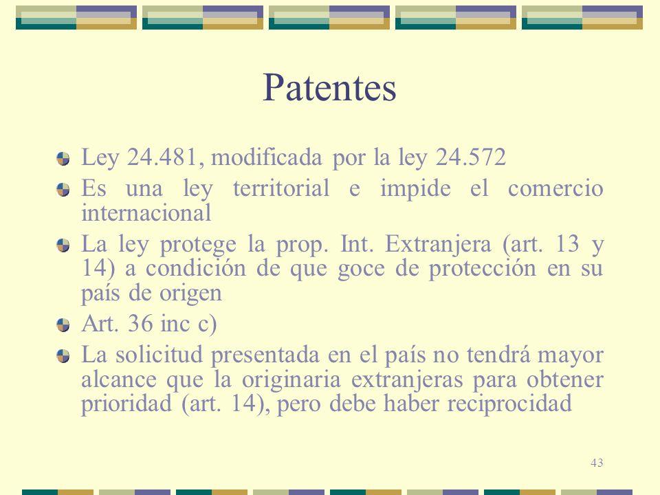 43 Patentes Ley 24.481, modificada por la ley 24.572 Es una ley territorial e impide el comercio internacional La ley protege la prop. Int. Extranjera