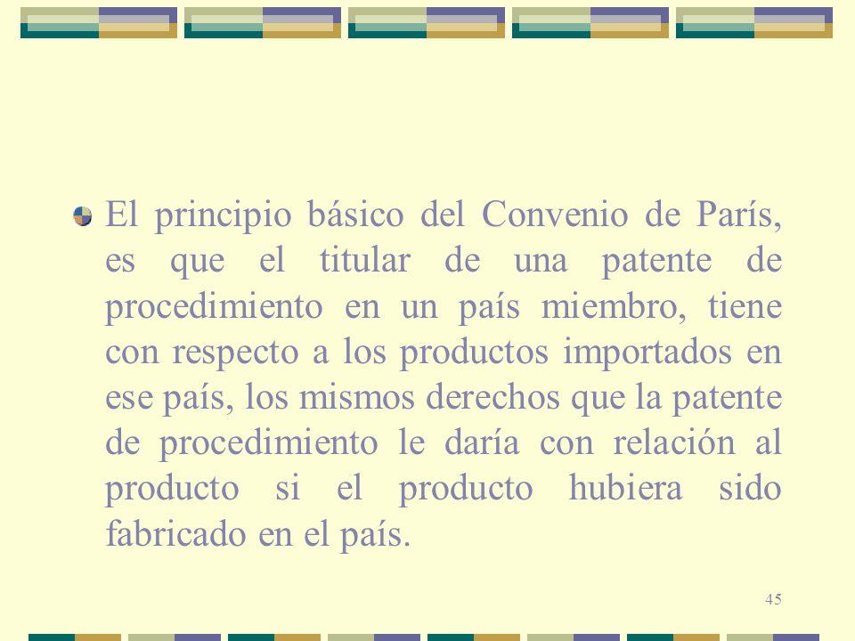 45 El principio básico del Convenio de París, es que el titular de una patente de procedimiento en un país miembro, tiene con respecto a los productos