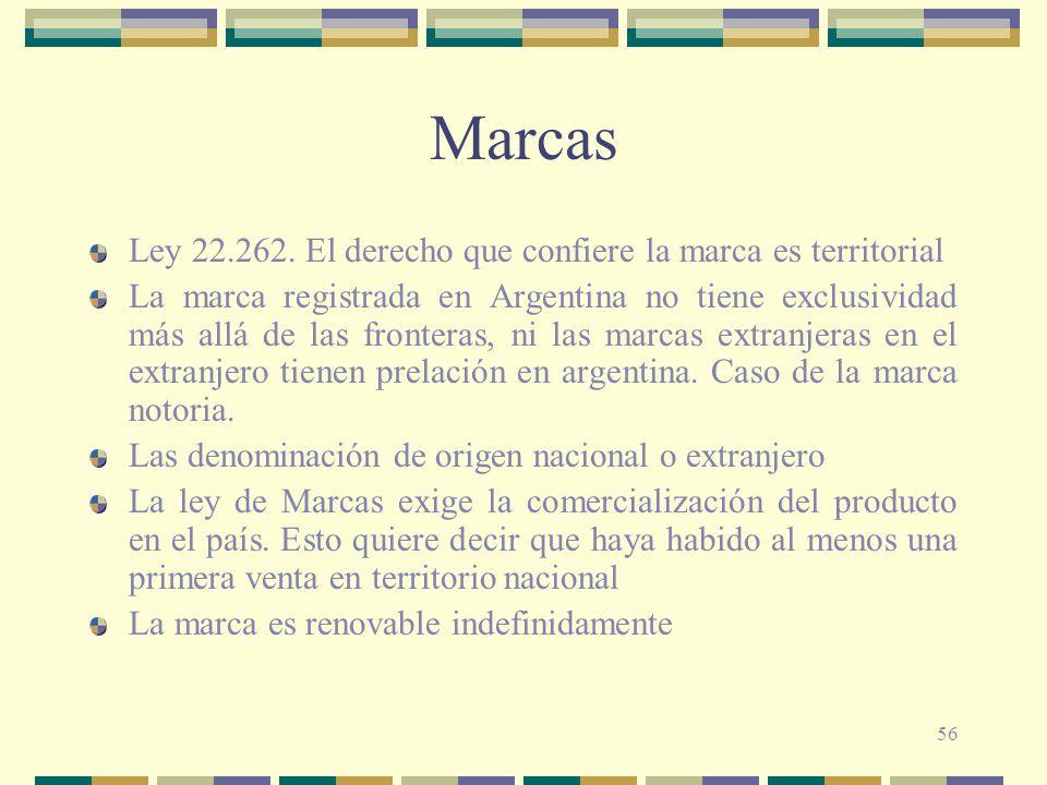 56 Marcas Ley 22.262. El derecho que confiere la marca es territorial La marca registrada en Argentina no tiene exclusividad más allá de las fronteras