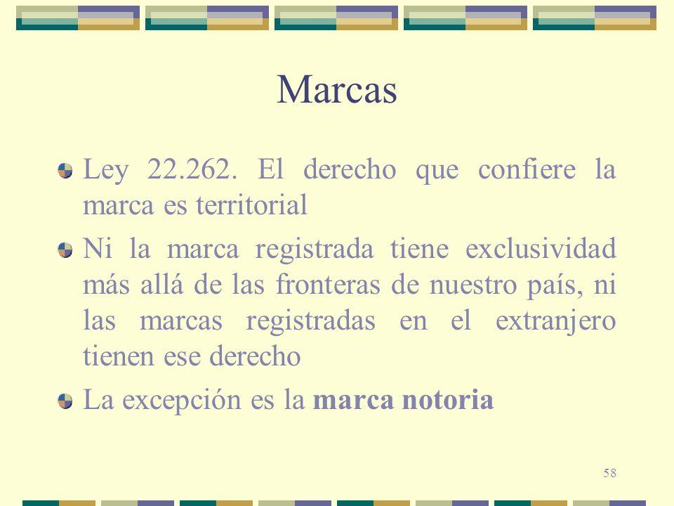 58 Marcas Ley 22.262. El derecho que confiere la marca es territorial Ni la marca registrada tiene exclusividad más allá de las fronteras de nuestro p