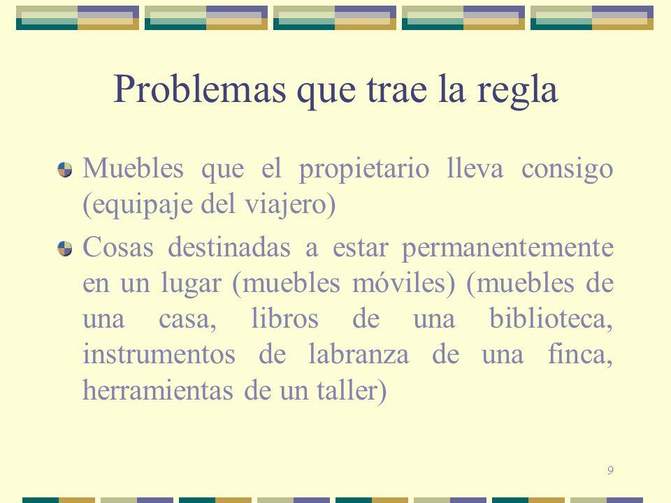 9 Problemas que trae la regla Muebles que el propietario lleva consigo (equipaje del viajero) Cosas destinadas a estar permanentemente en un lugar (mu