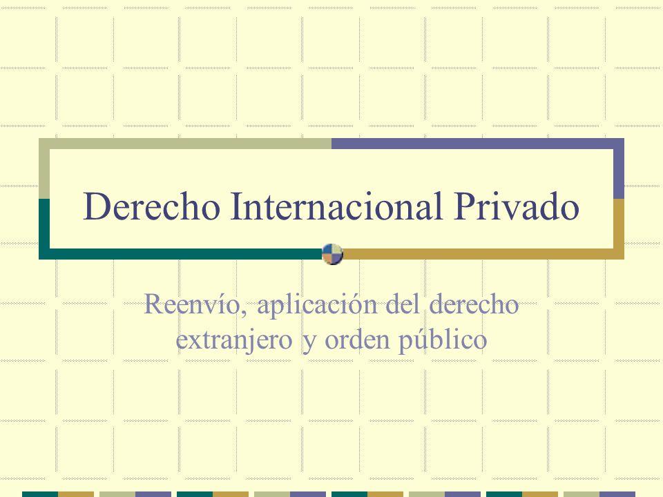 Derecho Internacional Privado Reenvío, aplicación del derecho extranjero y orden público