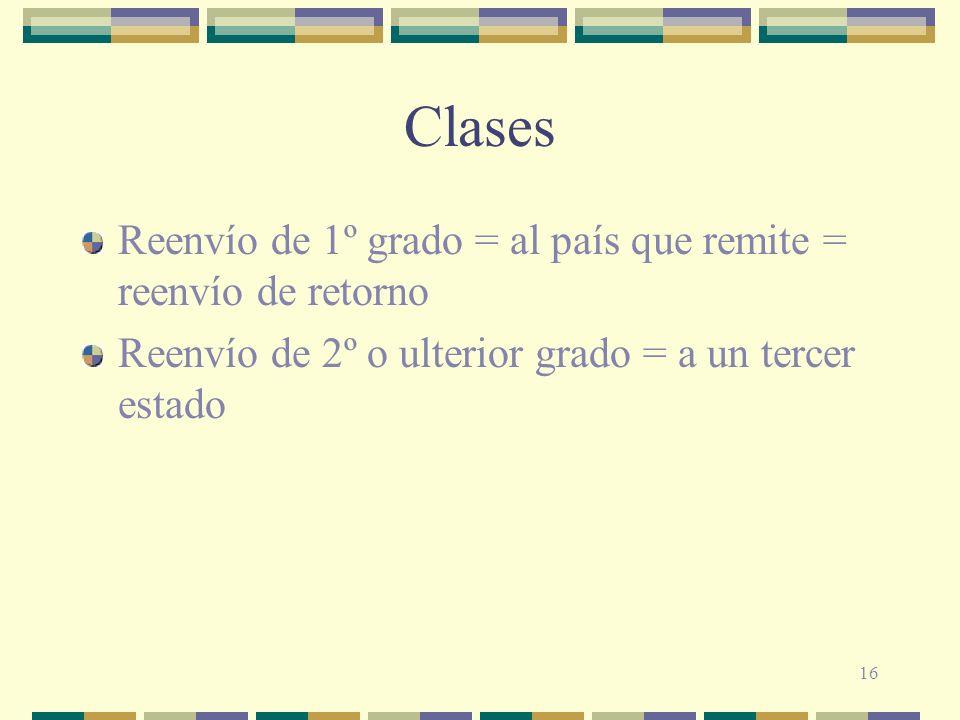 16 Clases Reenvío de 1º grado = al país que remite = reenvío de retorno Reenvío de 2º o ulterior grado = a un tercer estado