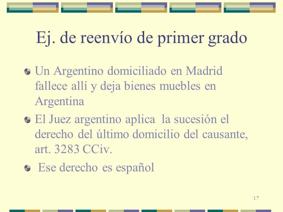 17 Ej. de reenvío de primer grado Un Argentino domiciliado en Madrid fallece allí y deja bienes muebles en Argentina El Juez argentino aplica la suces
