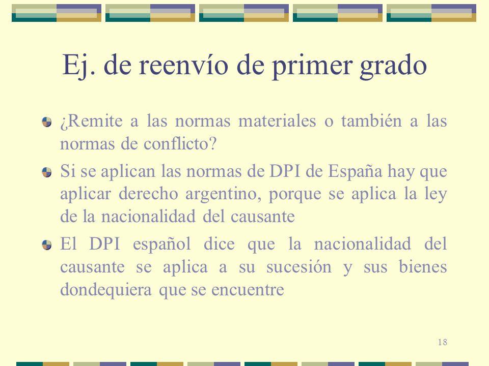 18 Ej. de reenvío de primer grado ¿Remite a las normas materiales o también a las normas de conflicto? Si se aplican las normas de DPI de España hay q